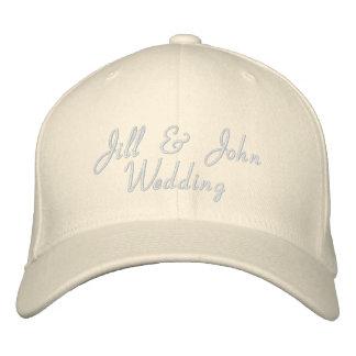 Hochzeits-Party-Braut-u. Bräutigam-Namen-Weiß-Hut Bestickte Baseballmütze