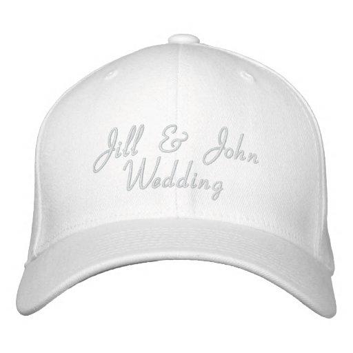 Hochzeits-Party-Braut-u. Bräutigam-Namen-Weiß-Hut Bestickte Baseballkappen