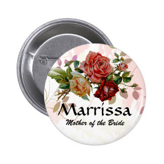 Hochzeits-Partynamen-Knopf Rose mit Blumen Runder Button 5,7 Cm