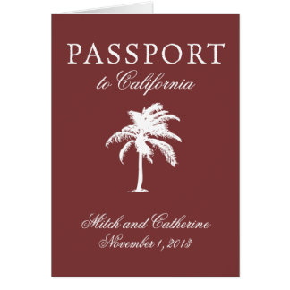 Hochzeits-Pass-Einladung zu Kalifornien Karte