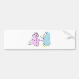Hochzeits-Pinguine Autoaufkleber
