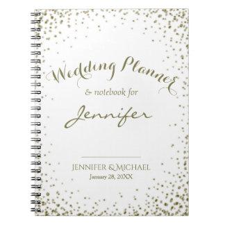 Hochzeits-Planer-GoldConfetti Spiral Notizblock