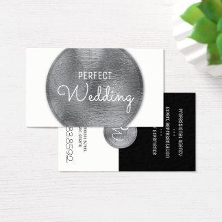 Hochzeits-Planer-Visitenkarte-stilvolle silberne Visitenkarte
