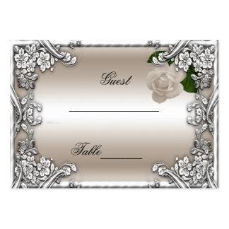 Hochzeits-Platzkarte-SahneRosen-Silber-Weiß Visitenkarten Vorlage