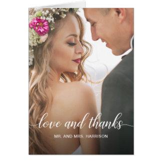 Hochzeits-Porträt-personalisiertes Foto danken Karte