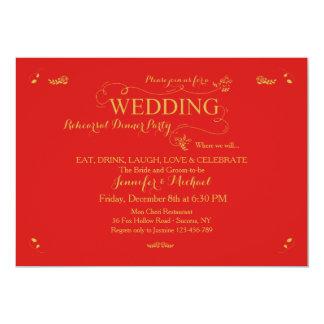 Hochzeits-Proben-Abendessen-Party Einladungs-Rot 12,7 X 17,8 Cm Einladungskarte