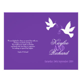 Hochzeits-Programm Band mit zwei weißen Tauben Bedruckte Flyer