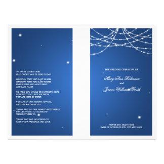 Hochzeits-Programm-funkelndes Schnur-Blau Personalisierte Flyer