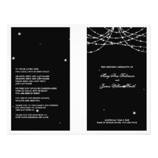 Hochzeits-Programm-funkelndes Schnur-Schwarzes 21,6 X 27,9 Cm Flyer