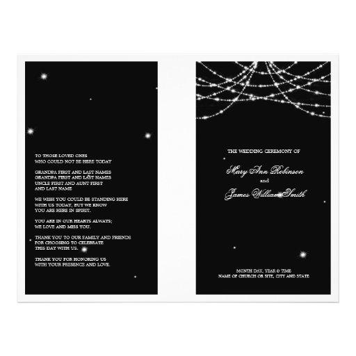Hochzeits-Programm-funkelndes Schnur-Schwarzes Vollfarbige Flyer