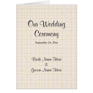 Hochzeits-Programm. Heller beige Karo und Grußkarte