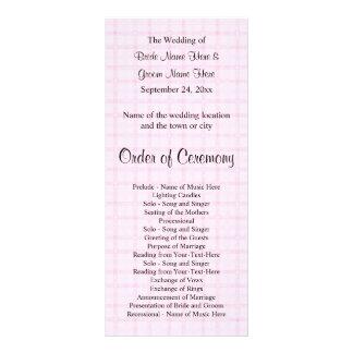 Hochzeits-Programm in blassem - rosa Karo und Werbekarte