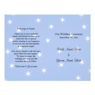 Hochzeits-Programm in hellblauem mit weißen Flyer