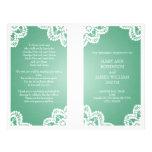 Hochzeits-Programm-Vintages Spitze-Minzen-Grün Vollfarbige Flyer
