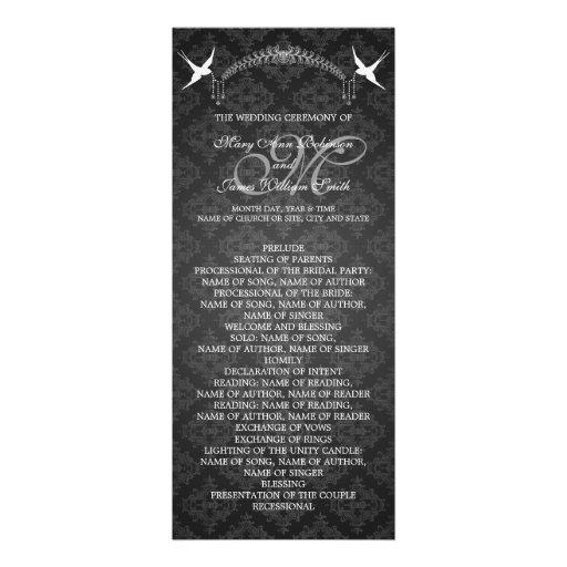 Hochzeits-Programm-Vogel-Monogramm-Schwarzes Ankündigungskarten