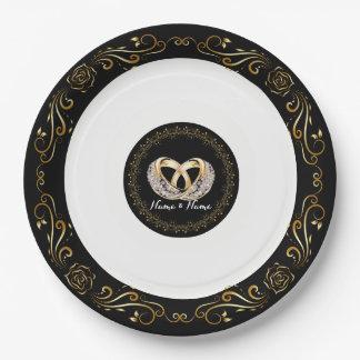 """Hochzeits-Ring-individueller Name 9"""" PapierTeller"""