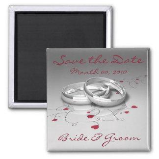 Hochzeits-Ring-Save the Date Magneten Quadratischer Magnet