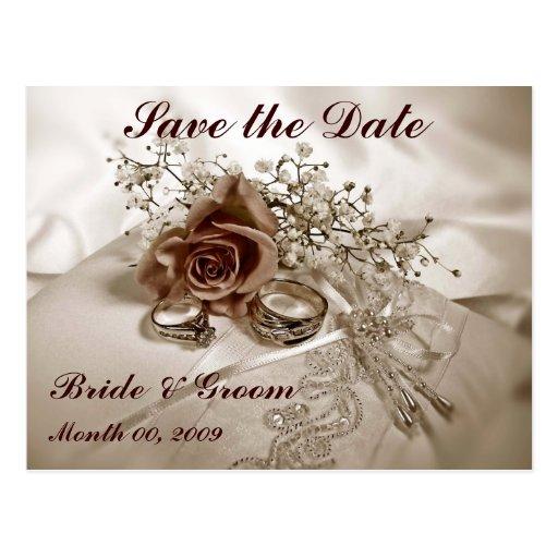 hochzeits ringe und rosen save the date postkarten zazzle. Black Bedroom Furniture Sets. Home Design Ideas