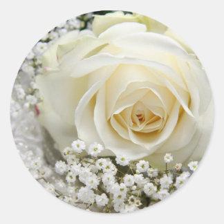Hochzeits-Rose Runder Aufkleber