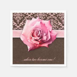 Hochzeits-Rosen-Blumen-Damast-Leder Vintag Papierserviette