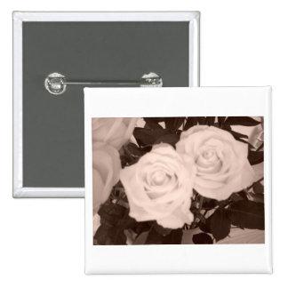 Hochzeits-Rosen Quadratischer Button 5,1 Cm