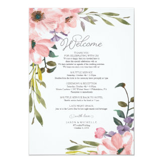 Wedding Itinerary - Welcome Letter Tea Rose