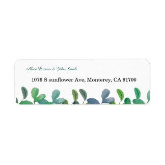 Hochzeits-Rücksendeadresseaufkleber des Grüns