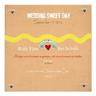 Hochzeits-Schatz-Einladung Quadratische 13,3 Cm Einladungskarte