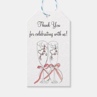 Hochzeits-Sektkelche danken Ihnen Geschenkanhänger
