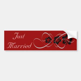 Hochzeits-Set - Hibiskus blühen schwarzes Rot Autoaufkleber