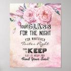 Hochzeits-setzendes Glas für die Nachtentdeckung Poster