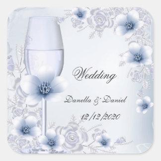 Hochzeits-silberne blaue Blumenblüten-Rosen Quadrat-Aufkleber