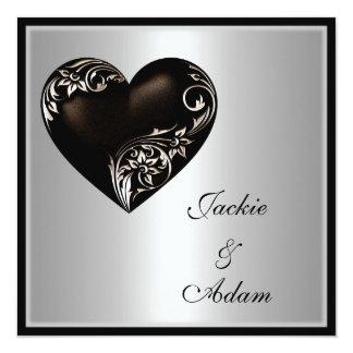 Hochzeits-silbernes schwarzes mit Blumenherz Quadratische 13,3 Cm Einladungskarte
