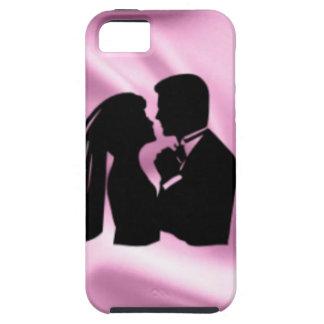 Hochzeits-Silhouette auf rosa Seide iPhone 5 Hülle