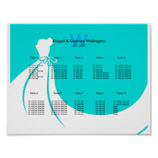 Hochzeits-Sitzplatz-Diagramm der Braut Kleider Poster