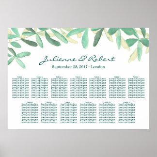 Hochzeits-Sitzplatz-Diagramm-Grün gestalten 13 Poster