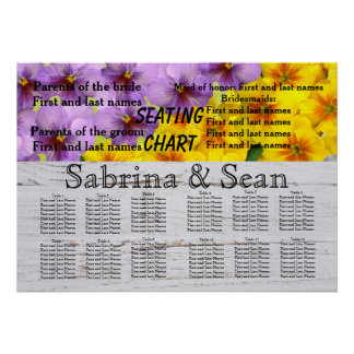 Hochzeits-Sitzplatz-Diagramm-romantische Blüten Poster
