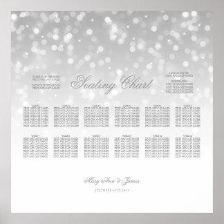 Hochzeits-Sitzplatz-Diagramm-Silber Bokeh Poster