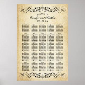 Hochzeits-Sitzplatz-Diagramm Vintages | blühen Poster
