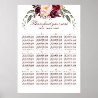 Hochzeits-Sitzplatz-mit Blumendiagramm Burgunders Poster