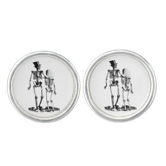 Hochzeits-Skeleton Paar-Vintages Bild im Schwarzen Manschetten Knöpfe