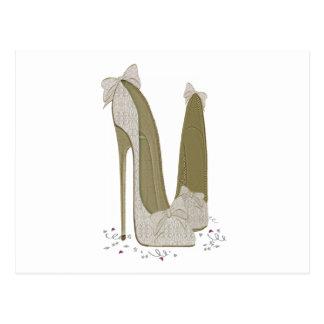 Hochzeits-Stilett beschuht Kunst Postkarten
