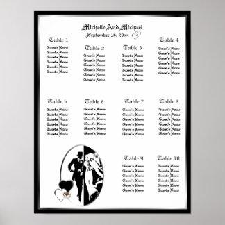 Hochzeits-Tabellen-Sitzplatz-Diagramm-Plakat mit Poster