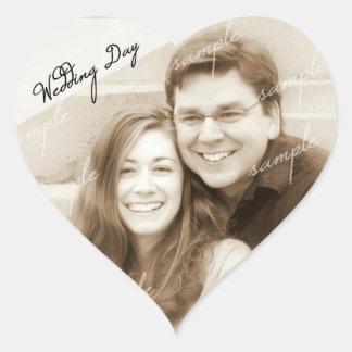 Hochzeits-TagesFoto-Erinnerungs-Herz-Aufkleber