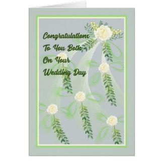 Hochzeits-Tageskarte mit Rosen Karte