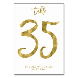 Hochzeits-Tischnummer-Goldfolien-Effekt Nr. 35 Karte