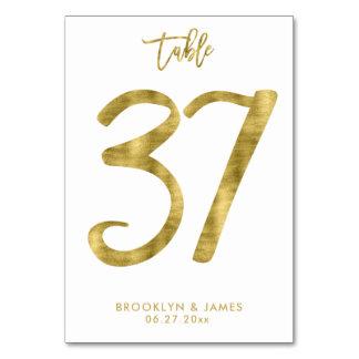 Hochzeits-Tischnummer-Goldfolien-Effekt Nr. 37 Karte