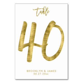 Hochzeits-Tischnummer-Goldfolien-Effekt Nr. 40 Karte