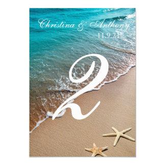 Hochzeits-Tischnummer-Herz auf dem Ufer-Strand 12,7 X 17,8 Cm Einladungskarte