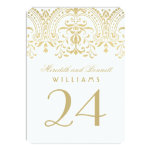 Hochzeits-Tischnummer kardiert | GoldVintagen 11,4 X 15,9 Cm Einladungskarte